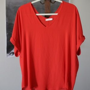 Lush Red Flowy Top Size Small